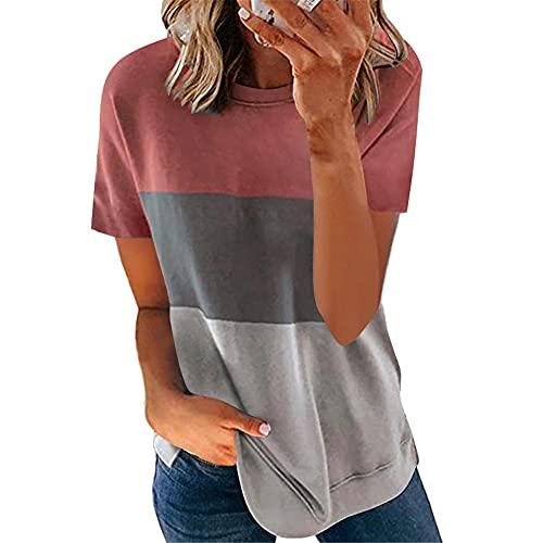 Manga Corta Mujer T-Shirts Verano Cuello Redondo Empalme Mujer Blusa Único Chic Dobladillo Irregular Tenedor Partido Diseño Diario Casual Cómodo Mujer Tops L-Pink Grey2 3XL