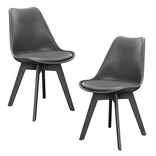 en.casa Set de 2 sillas de Comedor (Gris) Set para Comedor/salón/Juego de sillas para Cocina