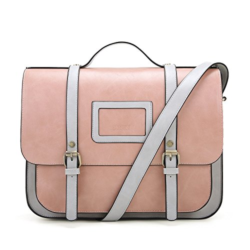 ECOSUSI Women Briefcase Vintage Crossbody Messenger Bag PU Leather Satchel Purse, Pink