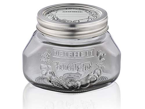 Leifheit Einmachglas 3er Set 0,5 L Smokey Grey, Weckglas mit Deckel ideal für Eingemachtes und Selbstgemachtes, dekoratives Vorratsglas, spülmaschinengeeignet, Marmeladenglas, Einkochglas, rund, grau