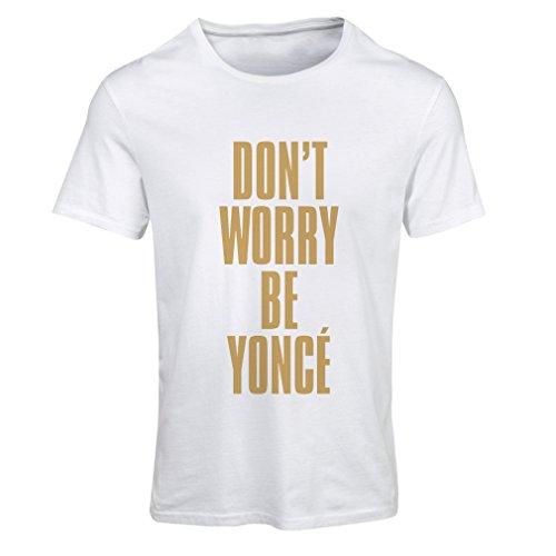 lepni.me Camiseta Mujer No se preocupe Sea Usted Mismo Citas, Famosos dichos positivos (XX-Large Blanco Oro)
