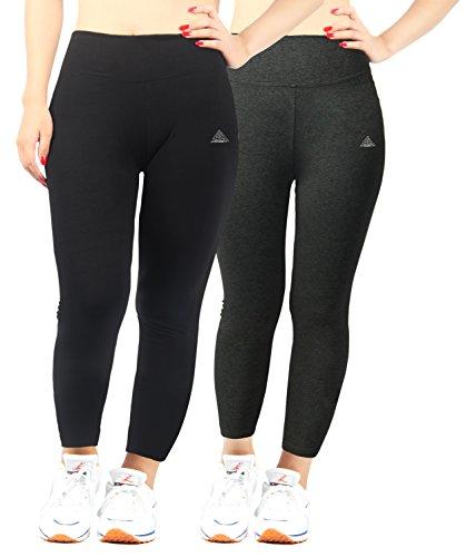 iloveSIA 2PACK Women's Plus Size Ankle Leggings Black+Dark Grey US Size 3X