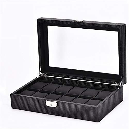 Goodvk Uhr-Anzeigen-Box Fiber De Carbone Uhrenbox Case 12 Display Aufbewahrungsbox Schwarz Armband Fach Kunstleder abschließbar (Farbe : Schwarz)