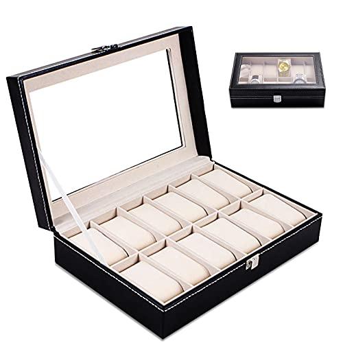 Caja para relojes,Caja de Relojes con 12 Compartimientos Con espejo,Caja Relojes con Almohadilla de reloj extraíble,Estuche/Guarda Relojes con Cierre de Metal,Piel Negra(30*20*8cm)