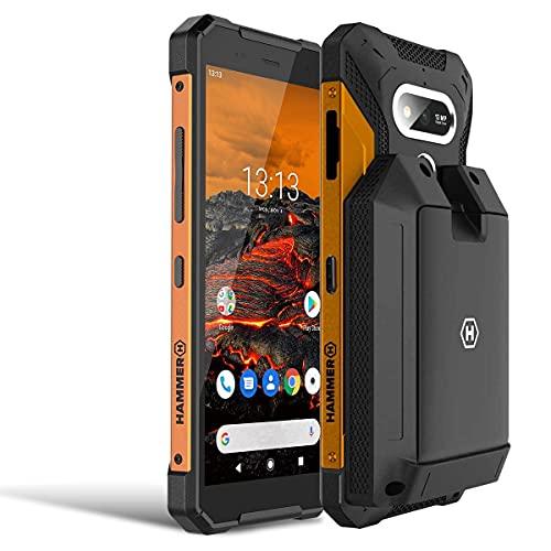 "Hammer Explorer smartphone ruggedized IP69, display 5.7"", 3 GB di ram, usb-c, nfc, 5000 mAh, Fotocamera da 13MP, doppia sim, androide 9.0, 4G, arancione + batteria esterna con funzione powerbank – set"