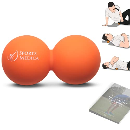 Sports Medica Doctor Developed Orange Peanut Massage Ball - Double Balls for Trigger Point Therapy, Injury, Recovery - Free Mobility Handbook and Video Series