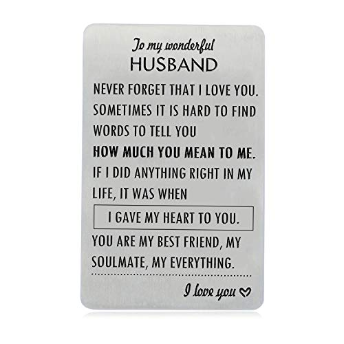 Anniversary Gifts for Husband, Engraved Wallet Card Insert Birthday...