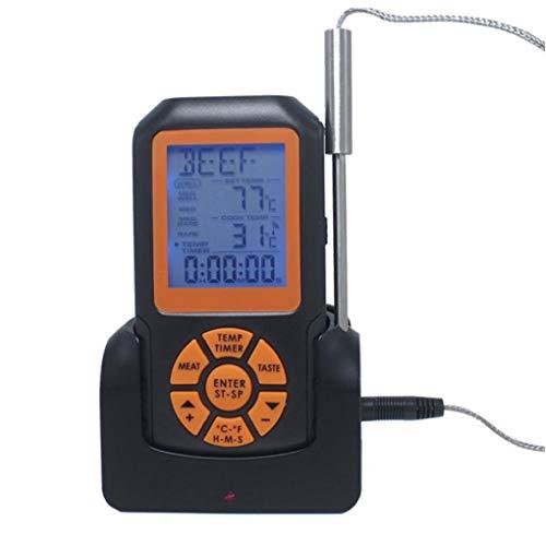 XKJFZ Impermeable Termómetro Digital Inalámbrica Barbacoa Termómetro con Temporizador De La Alarma Rápida Lectura Precisa De Gran Pantalla De La Sonda del Termómetro Negro Cocinar Cuatro