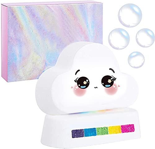 DerLin Regenbogen Badebomben Geschenkset, Bio-Handwerk Regenbogen bunten Blasen Badewannen Bomben, Rainbow Cloud Badebombe, reine natürliche Düfte für Kinder, Freundin (1 Packungen)