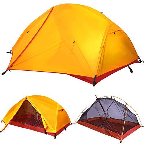 TFO Waterproof Backpacking Tent PU5000mm Rainfly & Floor 2 Person Ultralight Single Aluminum Pole 2 Door Easy Set up for 3 Season Outdoor Camping & Expedition (Upgraded)