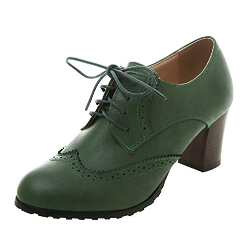 MISSUIT Damen Oxford Blockabsatz High Heels Pumps mitSchnürung und 6cm Absatz Elegant Kleid Brogues Schuhe(Grün,41)