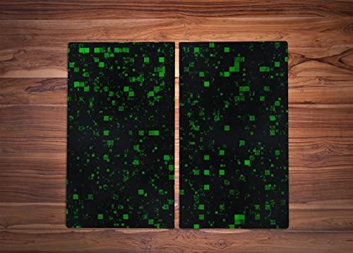 Z4L Herdabdeckplatte aus Glas für Küche 2X(30c52cm) Herdabdeckung Induktionskochfeld Quadrat, grün, Raum