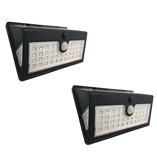 XUENUO Solarlampen voor buiten, 44 ledlampen met bewegingsmelder, 150 graden, driezijdige verlichting, schakelaar, waterdichte wandlamp, geschikt voor tuin, tuin, trap, garage