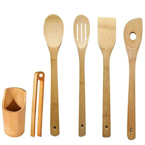 SODIAL Bambus KüChen Utensilien Set - Kochen L?Ffel 6 StüCk Kochen Utensilien Mit Halter, Antihaft Hitzebest?Ndigkeit Spatel Gabel