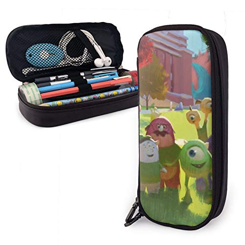 Monster University Leather Pencil case, Pencil case, Stationery Storage Bag, Multifunctional Cosmetic Bag, Large Leather Pencil case