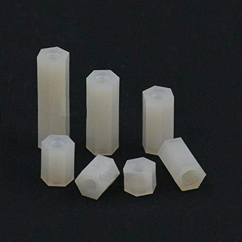 20 piezas M3 x 8 mm, cabeza Phillips redonda tornillos con cierre de tuercas, plástico y nailon, sujetadores blancos
