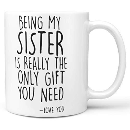 NC83 11 OZ Mijn Schwester zu Sein is het enige geschenk mok glad keramiek fun beker - grappig geschenk voor meisjes Chanukka