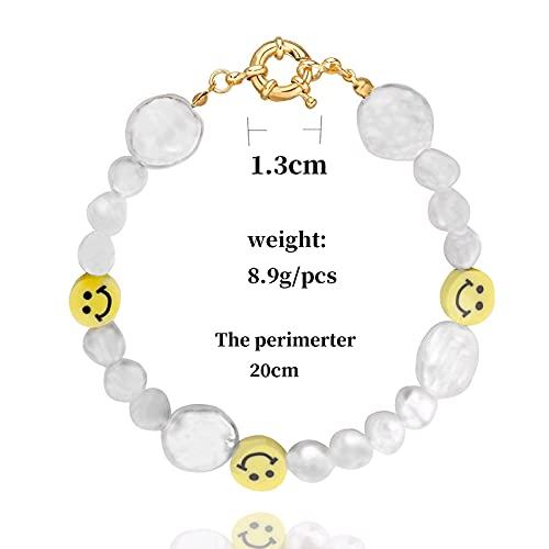 Hwjmy Retro divertido collar de perlas irregulares naturales para mujeres y niñas, accesorios de vacaciones de verano (color metal: pulsera P)