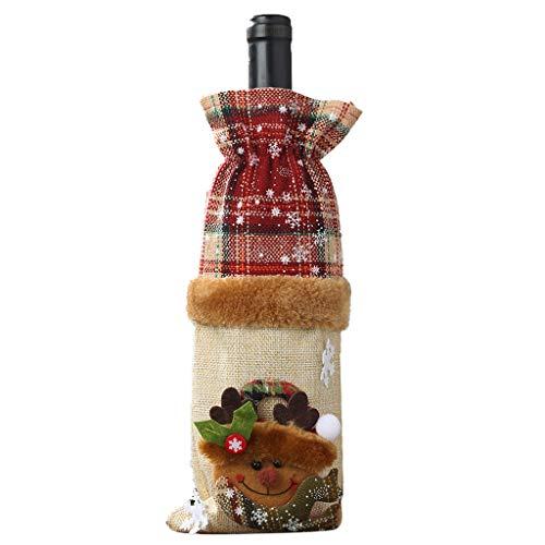 Bascar Weinflasche Set Plaid Leinen Flasche dekoriert Champagner-Tasche Weihnachts dekoFlaschenanzug Flaschenüberzug Weihnachtmann Party Tischdeko Romantisch Geschenke (B)