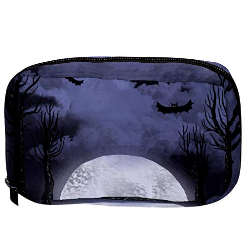 LORVIES - Fondo de Halloween con árboles de calderas, bolsa de cosméticos, bolsa de maquillaje, bolsa de viaje, organizador para mujer