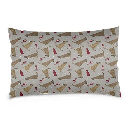YudoHong Fundas de cojín de lino, suaves, rectangulares, para sofá, dormitorio, decoración del hogar, pastores holandeses, vino