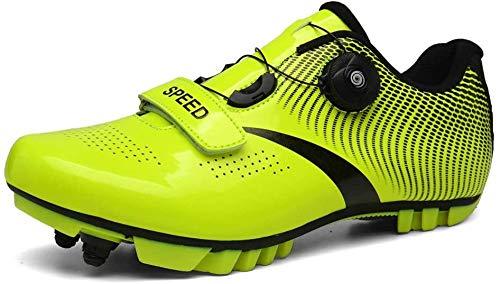 KUXUAN Calzado de Ciclismo para Hombre,MTB Road Bike Cycle Zapatos Mujer Lightweight Offroad Athletic,Green-4UK=39EU