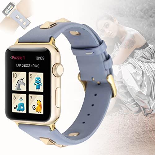 Correa Compatible con Apple Watch 42mm 44mm, Remaches Dorados Tachuelas Correa de Cuero Pulsera de Repuesto Compatible con Iwatch Series 6/5/4/3/2/1 SE,38mm