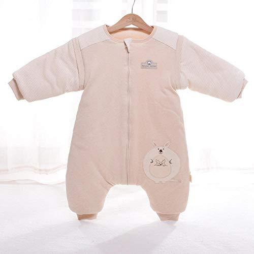 QFYD FDEYL Babyschlafsack für Neugeborene,Bunter Dicker Baumwollschlafsack, Strampler mit abnehmbaren Ärmeln-Känguru_M 1-3 Jahre, Baby Gestrickt Wickeln Swaddle Decke Schlafsack