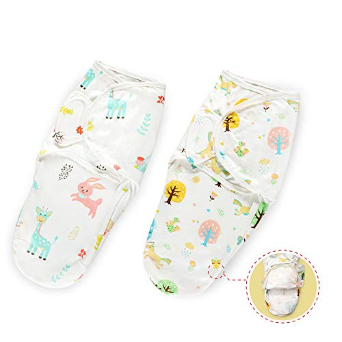 Haakaa Baby Swaddle Sack Wrap, 100% Cotton Adjustable & Diapers Changeable Baby Swaddle Sleep Sack with Zipper for Newborn Baby Girl 3-6 Months Old, 2 Pack (Large)