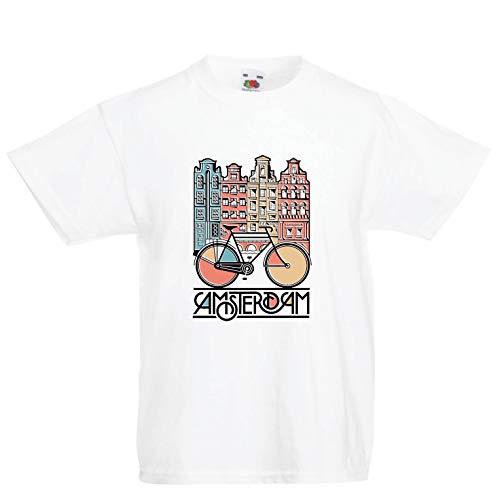 lepni.me Camiseta para Niño/Niña Bicicleta Vintage de la Ciudad de Ámsterdam, Holanda, Viajes de Vacaciones (9-11 Years Blanco Multicolor)
