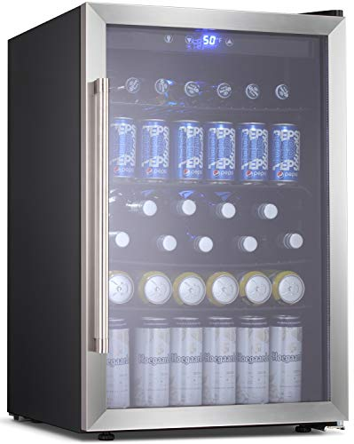 Best Deals! BOSSIN Beverage Refrigerator and Cooler, 120 Can Capacity with Smoky Gray Glass Door for Soda Beer or Wine,Compressor Touch Panel Digital Temperature Display for Home, stainless steel(4.5 cu.ft)