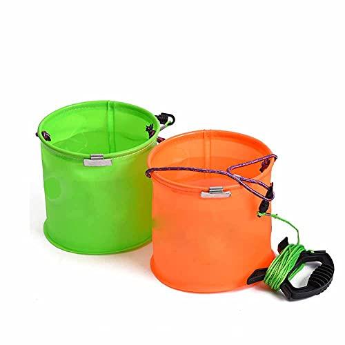 Fällbar hink, bete förvaringslåda, 32-tums flätat nylon rep bärbart utomhus fiskeverktyg, kan användas för att hämta vatten och lagra levande fisk,Orange