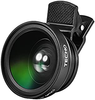 TECHO Universal Professional HD Camera Lens Kit for iPhone X / 8 / 8 Plus / 7 / 6s, Cellphone (0.45x Super Wide Angle Lens, 12.5x Super Macro Lens)