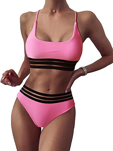 SOLY HUX Damen Bikini Set mit Mesh 2-Teile Bademode Badeanzug Strandmode Hohe Taille Bikinis Rosa S
