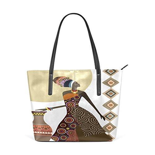 Fantastic African Women Ethnic Style Portemonnaie PU Leder Schulter Tote-Tasche für Damen Mädchen Damen
