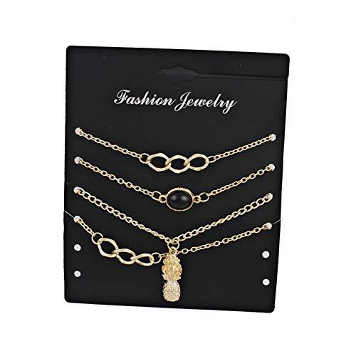 Thumby Weiblich Zinklegierung Geometrie Hummer-Schnalle Kabelkette Kettenarmband 4 Stück Set Armband Kreuz Hohl Ananas Legierung Reis Perlen Armband Schmuck, Gold