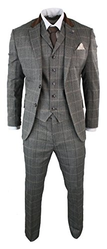 CB Herrenanzug Beige 3 Teilig Kariert Tweed Design Wolle Vintage Retro Stil Tailored Fit
