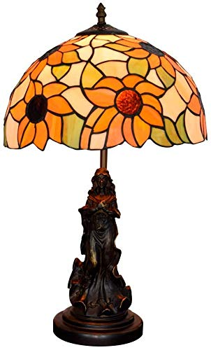Retro Victoriaanse stijl Tafellampen 12inch Rode Roze nam bedlampje handwerk Stained Glass lampenkap desk lamp