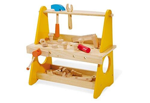 Pinolino tafelwerkbank Basti, van hout, met bankschroef, plank, gereedschaphouder en gereedschap, voor kinderen vanaf 3 jaar, bont gelakt