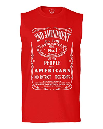 Second 2nd Amendment Rights American Patriot Militia Men's Muscle Tank Sleeveles t Shirt (Red Large)