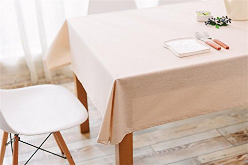 Ommda Nappe Lin Anti-tâche Imperméable Nappe de Table a Manger 130x240cm Beige