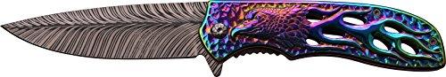 DARK SIDE BLADES Taschenmesser DS-A043 Serie, Messer DRACHEN FLAMEN Griff REGENBOGEN, sehr scharf Outdoormesser 8,89 cm ROSTFREI Klinge, leicht 181gr Klappmesser