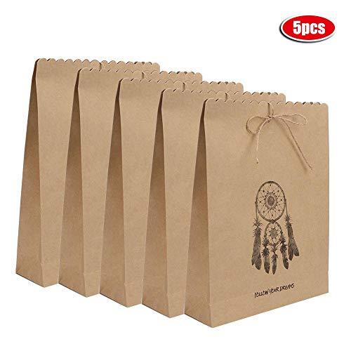 Fdit 5 Stks Bruin Droom Catcher Patroon Gift Bag Duurzame Papier Retail Winkelzakken Kraft Papier Tassen