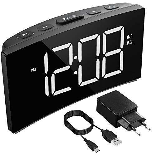 Holife Reloj Despertador Digital,2019 Despertadores Digitales de Pantalla Curvada con...
