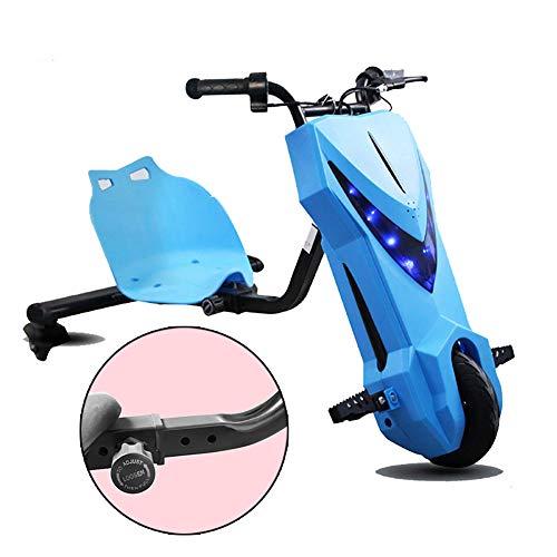Fly Elektro Motor Dreirad Electric Go Kart Scooter 3-Rad Cityroller Kickroller Der Rahmen Hat 4 Stufen Einstellbarer Länge Mit Blitz Kinder Jungen Und Mädchen, Ages 8 Years+,Blau
