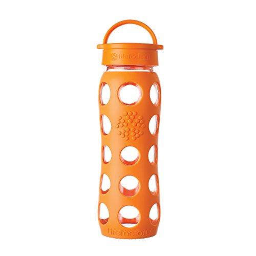 Lifefactory Glas Trinkflasche mit Silikon-Schutzhülle, BPA-frei, auslaufsicher, spülmaschinenfest, 650ml, orange