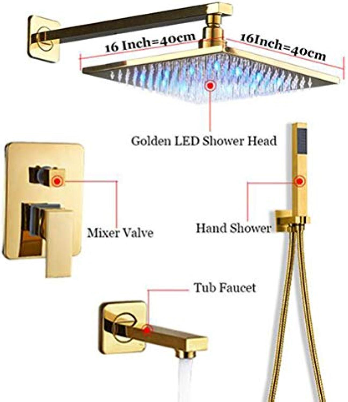 MICHEN Bad Dusche Wasserhahn Goldene Messing 16 '' Duschkopf Wandhalterung Dusche Set Heie und Kalte Wasser Mischbatterie,WallMounted