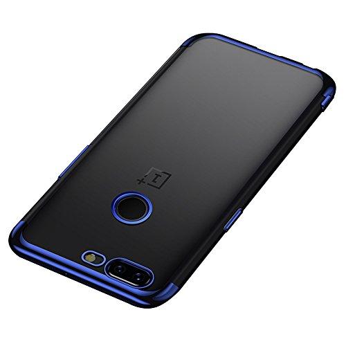 BLUGUL Funda OnePlus 5T, Electroplating Coloring, Ultra Fina, Transparente Suave TPU Silicona Cover Claro Case para OnePlus 5T Azul