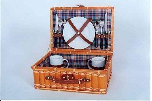 Cesta de picnic de bambú, maleta de picnic para 2 Personas, CAMPING cesta