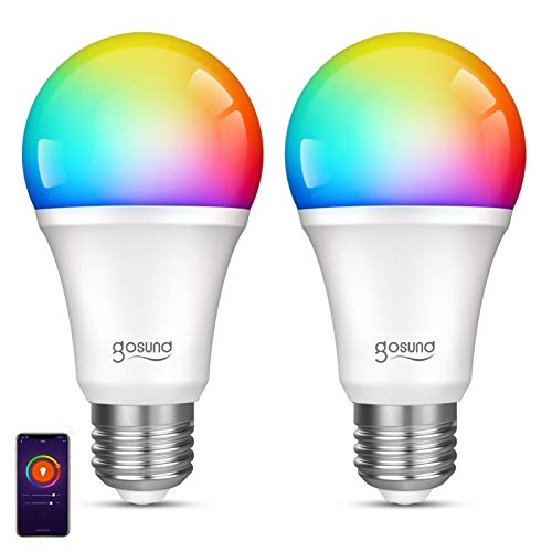 Smart Light Bulb Gosund RGB Color Changing LED Bulbs That Works with Alexa Google Home Assistant, E26 A19 8W Multicolor Lights Bulb, No Hub Required, 2.4GHz Only, 2 Pack